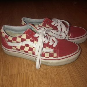 Red old skool checkered vans